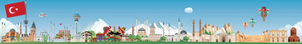 türkei-skyline - alanya stock-grafiken, -clipart, -cartoons und -symbole