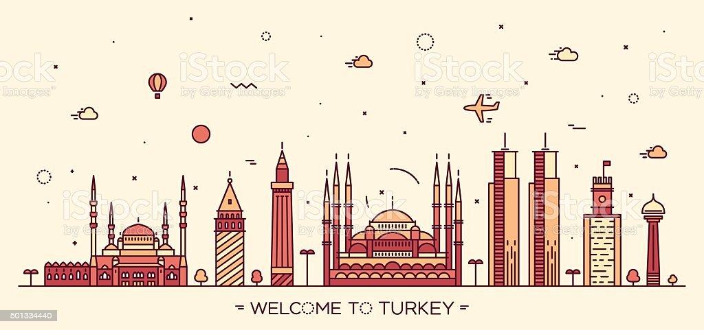 Turkey skyline vector illustration linear style vektör sanat illüstrasyonu