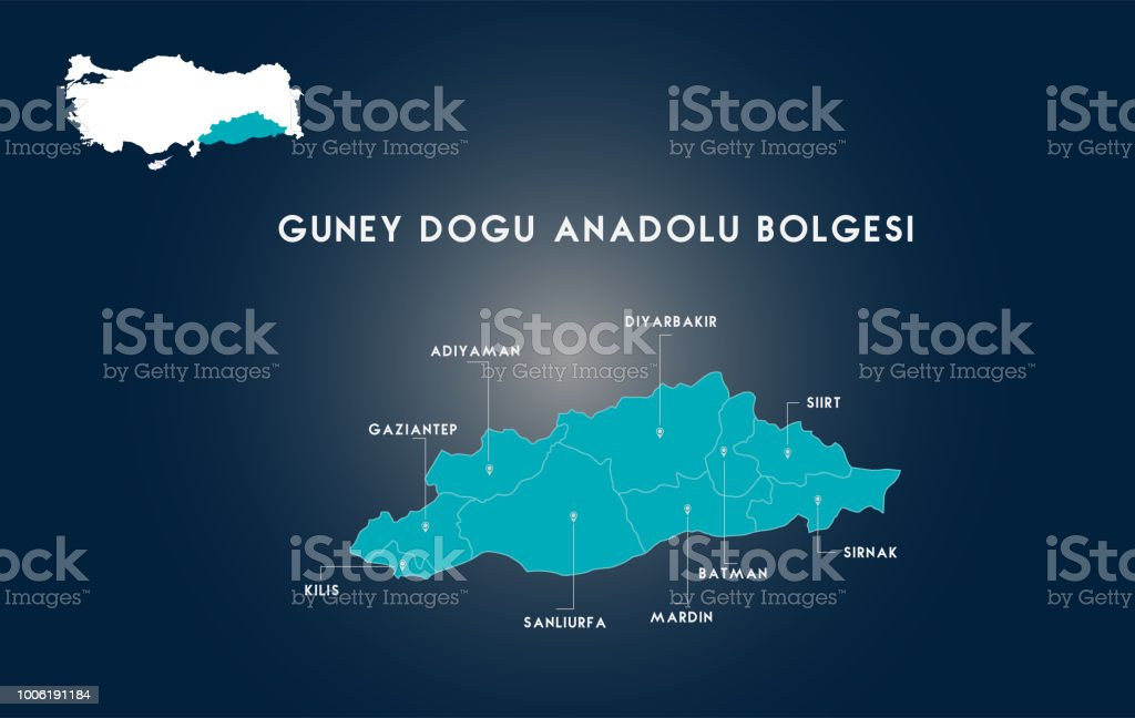 Turkey Southeastern Anatolia Region Map Stock Vector Art More