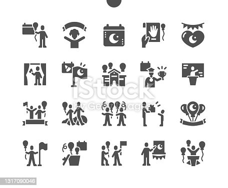 istock Turkey Sovereignty Day and Childrens Day Observances 23 April. Nisan. Calendar. Twenty third of april. Childrens performances. Vector Solid Icons. Simple Pictogram 1317090046