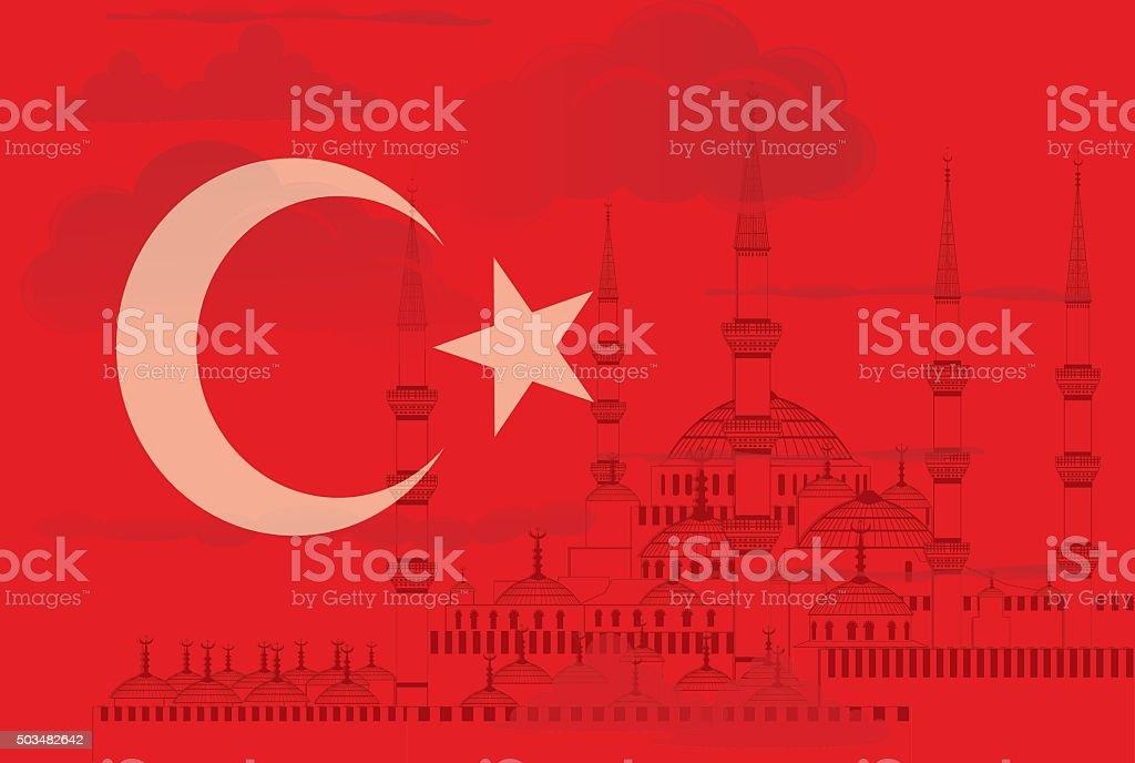 Turkey symbol with Blue mosque vector vector art illustration