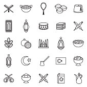 Turkey Thin Line Outline Icon Set