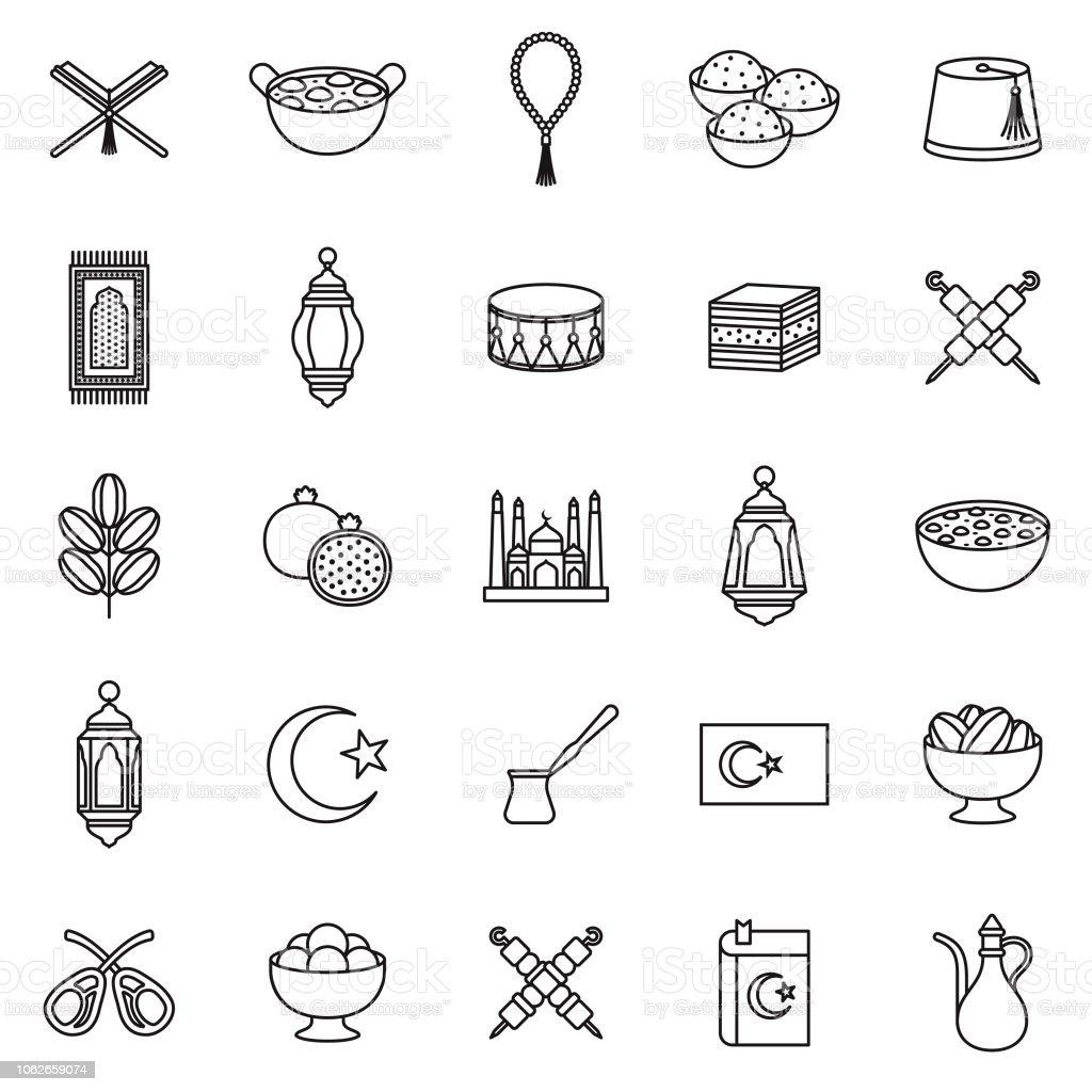 Turkey Thin Line Outline Icon Set vector art illustration