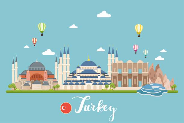Turkey Travel Landscapes Vector Illustration vector art illustration