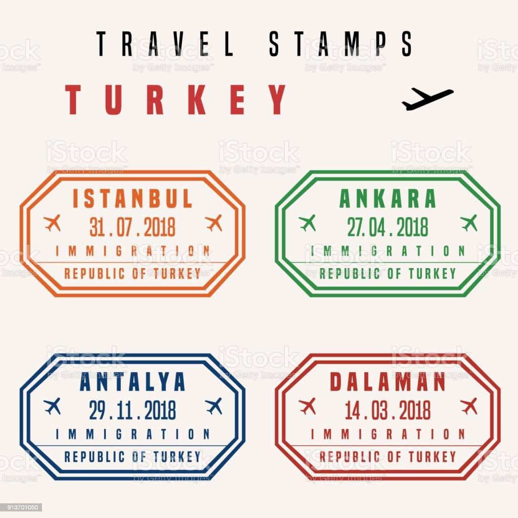 Türkiye'de seyahat pullar vektör sanat illüstrasyonu