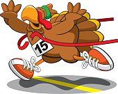 A vector illustration of a turkey trotting to victory in a Thanksgiving charity race.