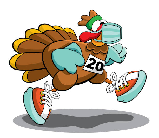 turkey trot 2020 mascot logo - thanksgiving turkey stock illustrations