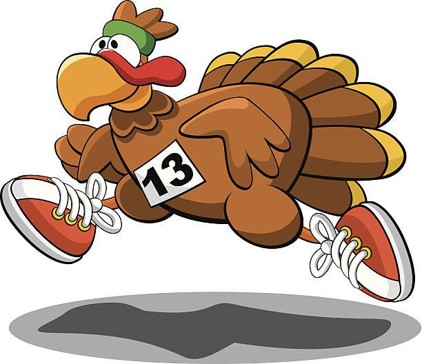 Turkey Trot Vector illustration of a turkey participating in a Thanksgiving Turkey Trot. turkey stock illustrations