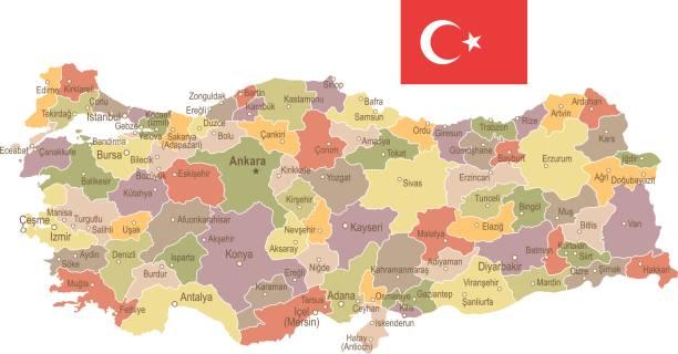 türkei - vintage karte und flagge - abbildung - alanya stock-grafiken, -clipart, -cartoons und -symbole