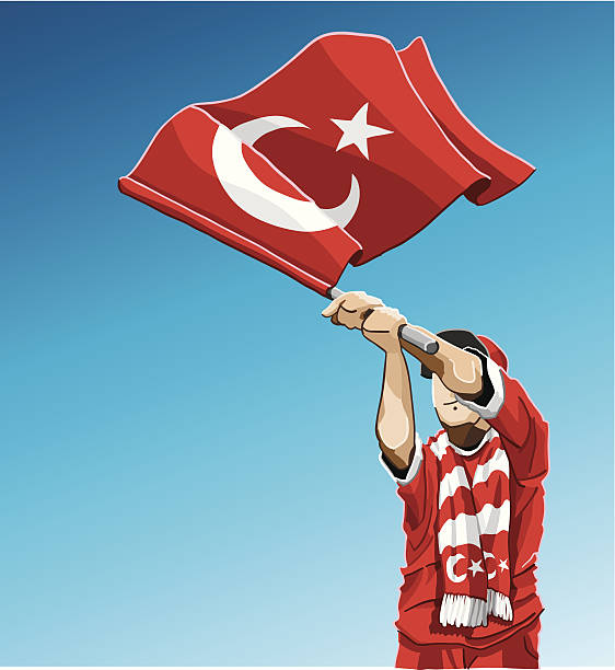 Turkey Waving Flag Soccer Fan Vector Illustration of a Turkish football fan. The background is on a separate layer, you can use the illustration on your own background. The colors in the .eps and .ai-files are ready for print (CMYK). Included files: EPS (v8), AI (CS2) and Hi-Res JPG.  soccer stock illustrations