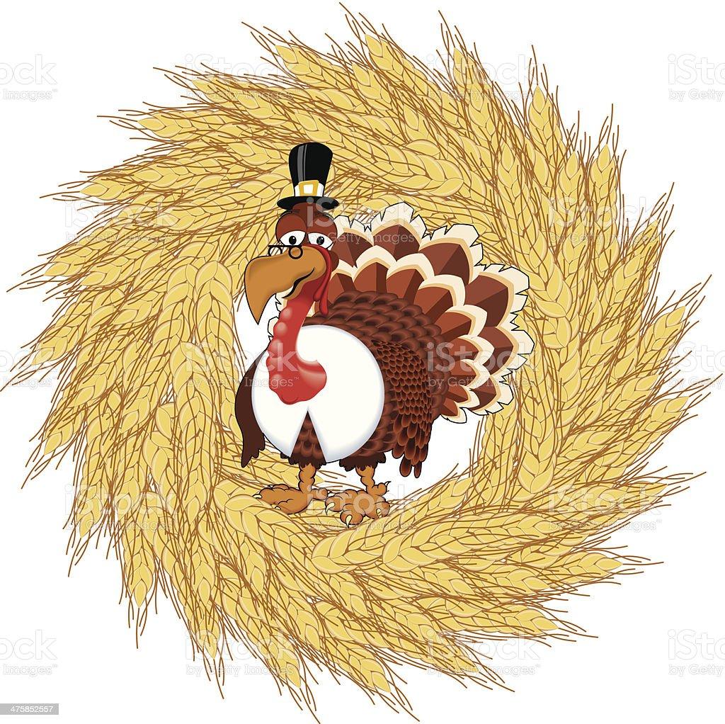 Turkey Wheat Wreath C royalty-free stock vector art