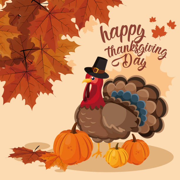 turkey with pumpkins and hat pilgrim of thanksgiving day - turcja stock illustrations