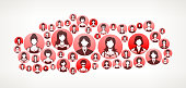 Turkey Women Faces Girl Power Pattern. This vector collage has pink and red round buttons arrange in seamless patter. Individual iconography on the buttons shows women portraits. Women and businesswomen convey a feeling of girl power unity teamwork and partnership. This royalty free vector background graphic is ideal for your feminism and girl power concepts.