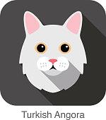 Turkish Angora Cat, Cat breed face cartoon flat icon design