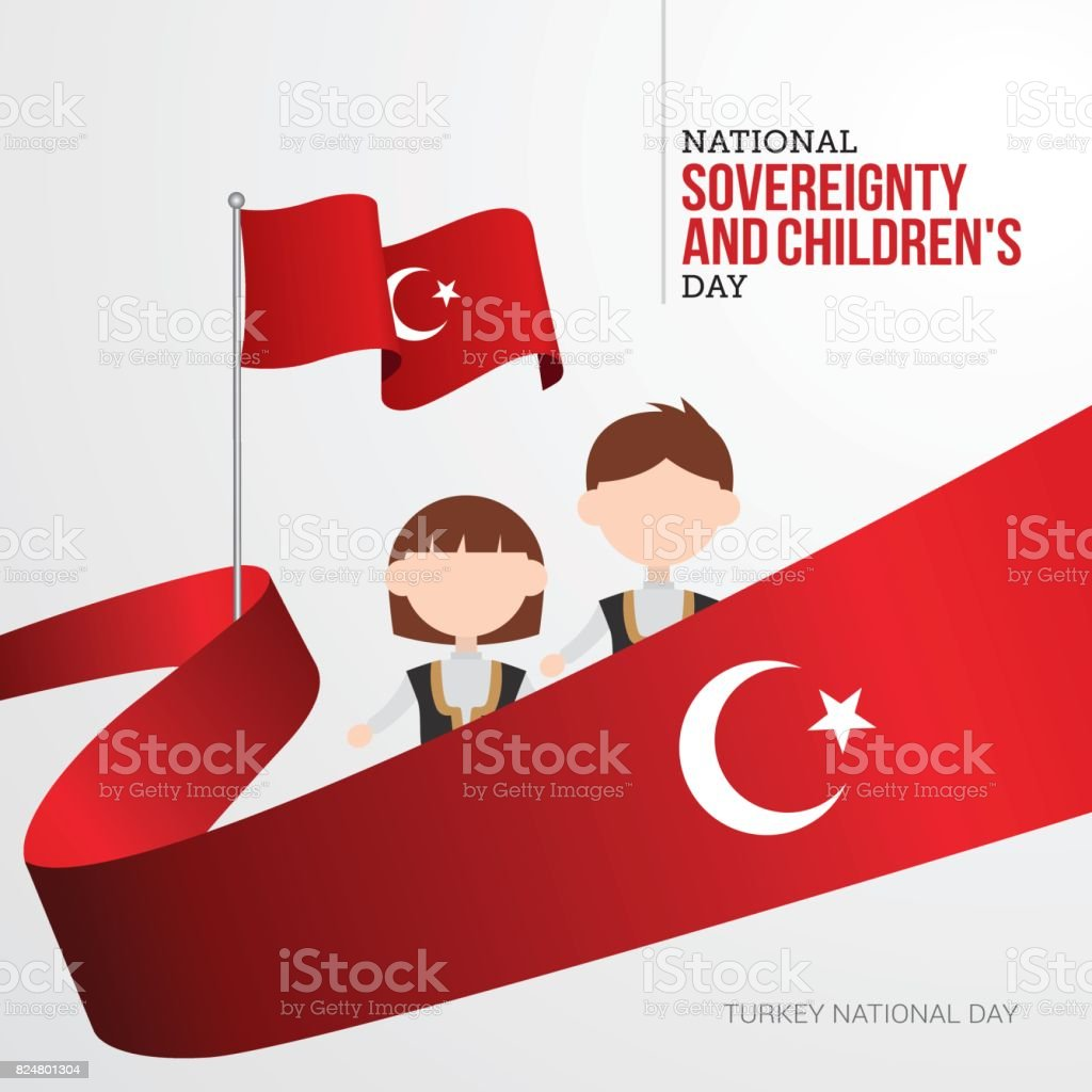 Turkish April 23 National Sovereignty and Children's Day vector art illustration