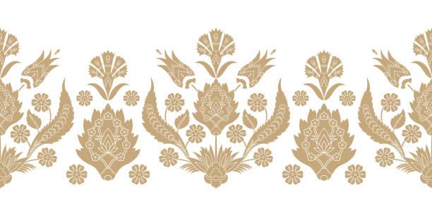 stockillustraties, clipart, cartoons en iconen met turkse arabische patroon vector naadloze rand. damask textuur ontwerp met bloemen motieven. islamitische bloementextuur - turkse cultuur