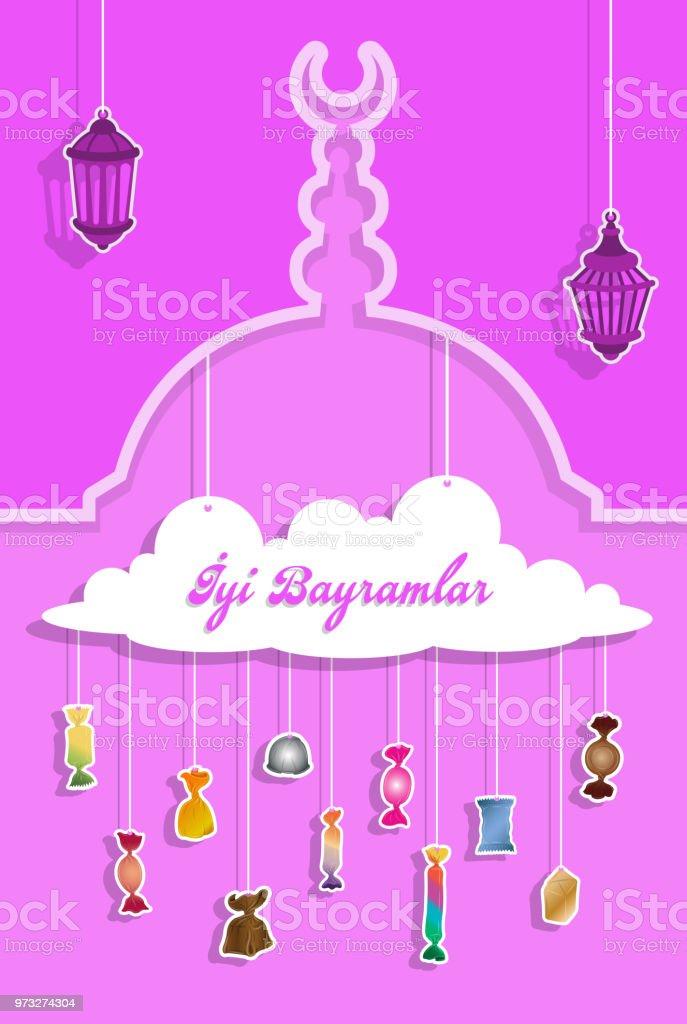 Türkische Bayram Gruß mit Papier ausgeschnitten Bonbons – Vektorgrafik