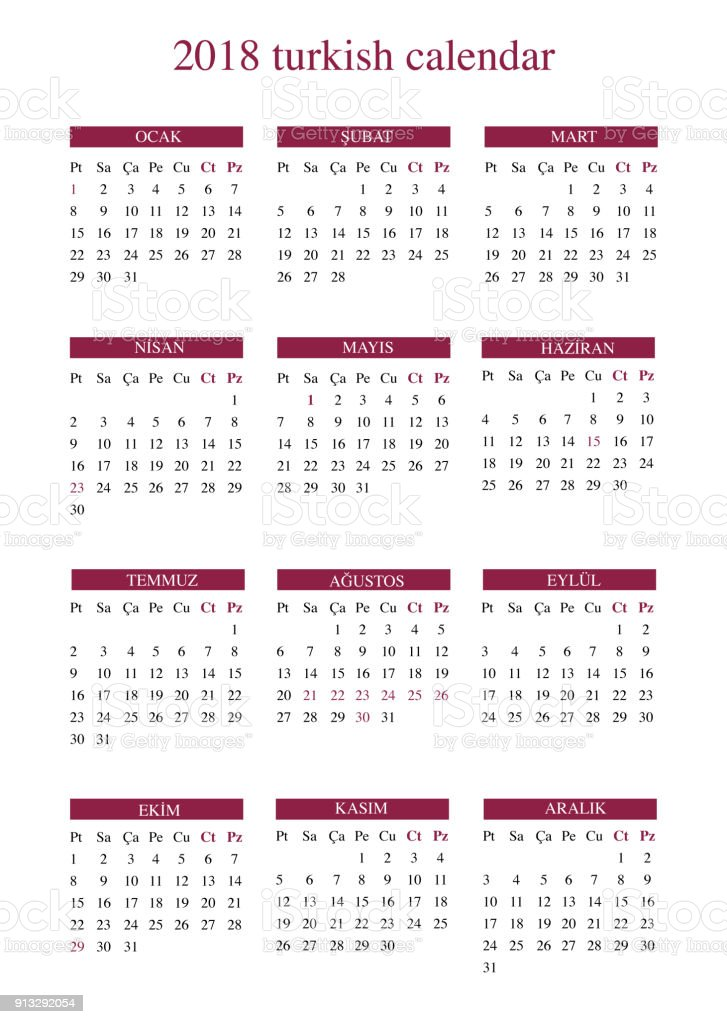 2018 turkish calendar with public holiday and religious holidays royalty free 2018 turkish calendar