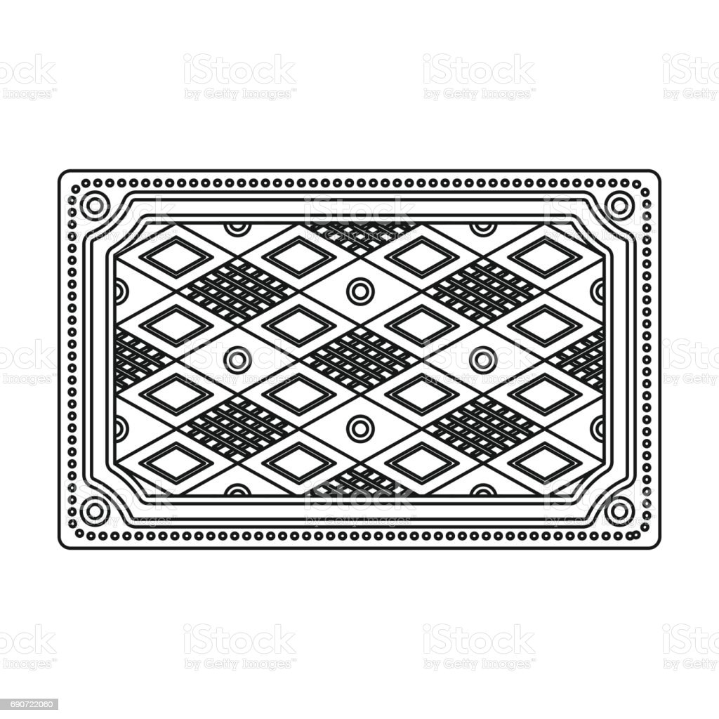 Turkish Carpet Icon In Outline Style Isolated On White Background Turkey Symbol Stock Vector Illustration