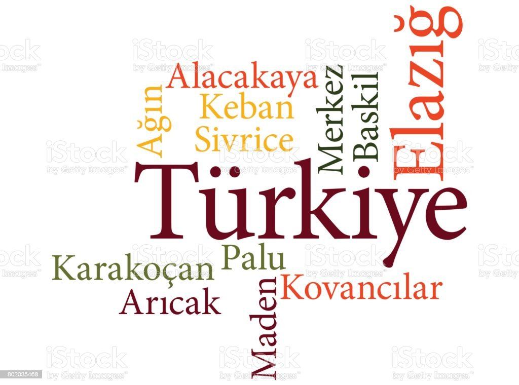 Turkish city Elazig subdivisions in word clouds vector art illustration