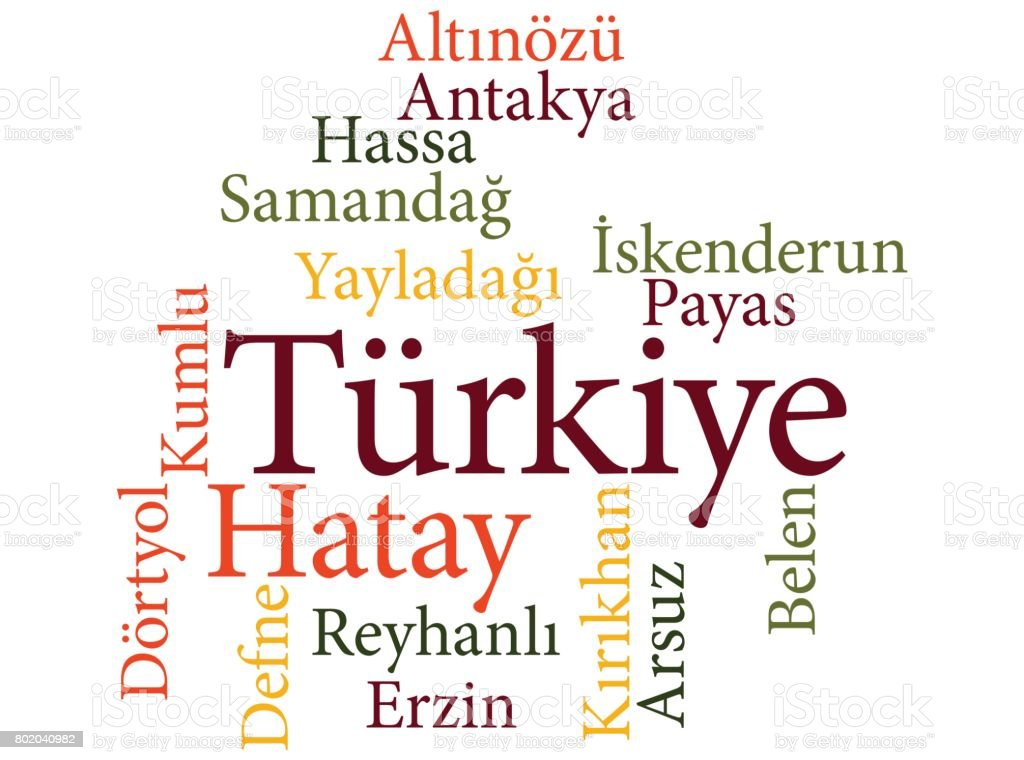 Turkish city Hatay subdivisions in word clouds vector art illustration