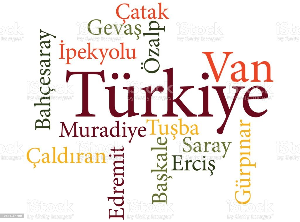 Turkish city Van subdivisions in word clouds vector art illustration
