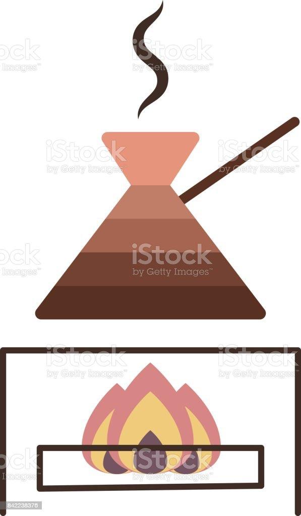 Wie Kocht Kaffee einen türkischen kaffeetopf kocht kaffee auf gasherd stock vektor