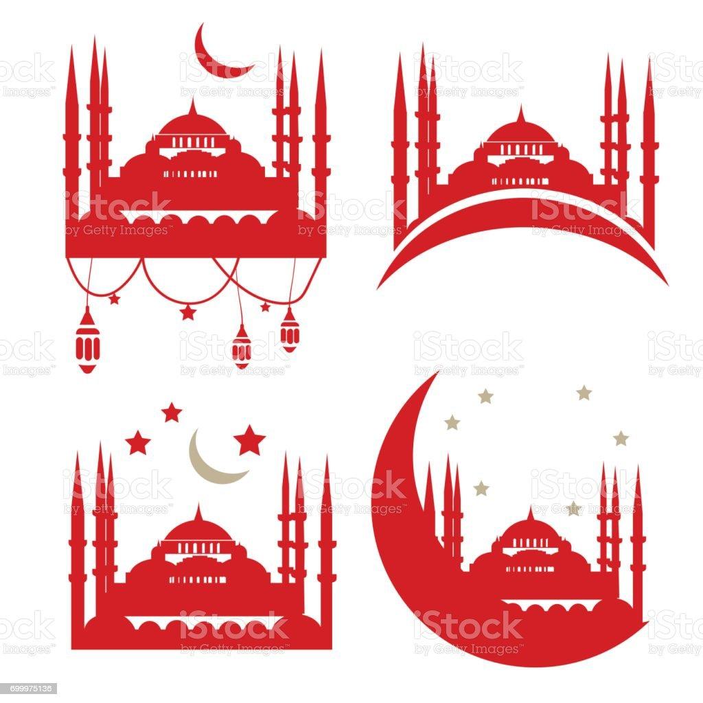 Turkish Community Illustration: Sultan Ahmed Mosque. Blue Mosque vector illustration. vector art illustration