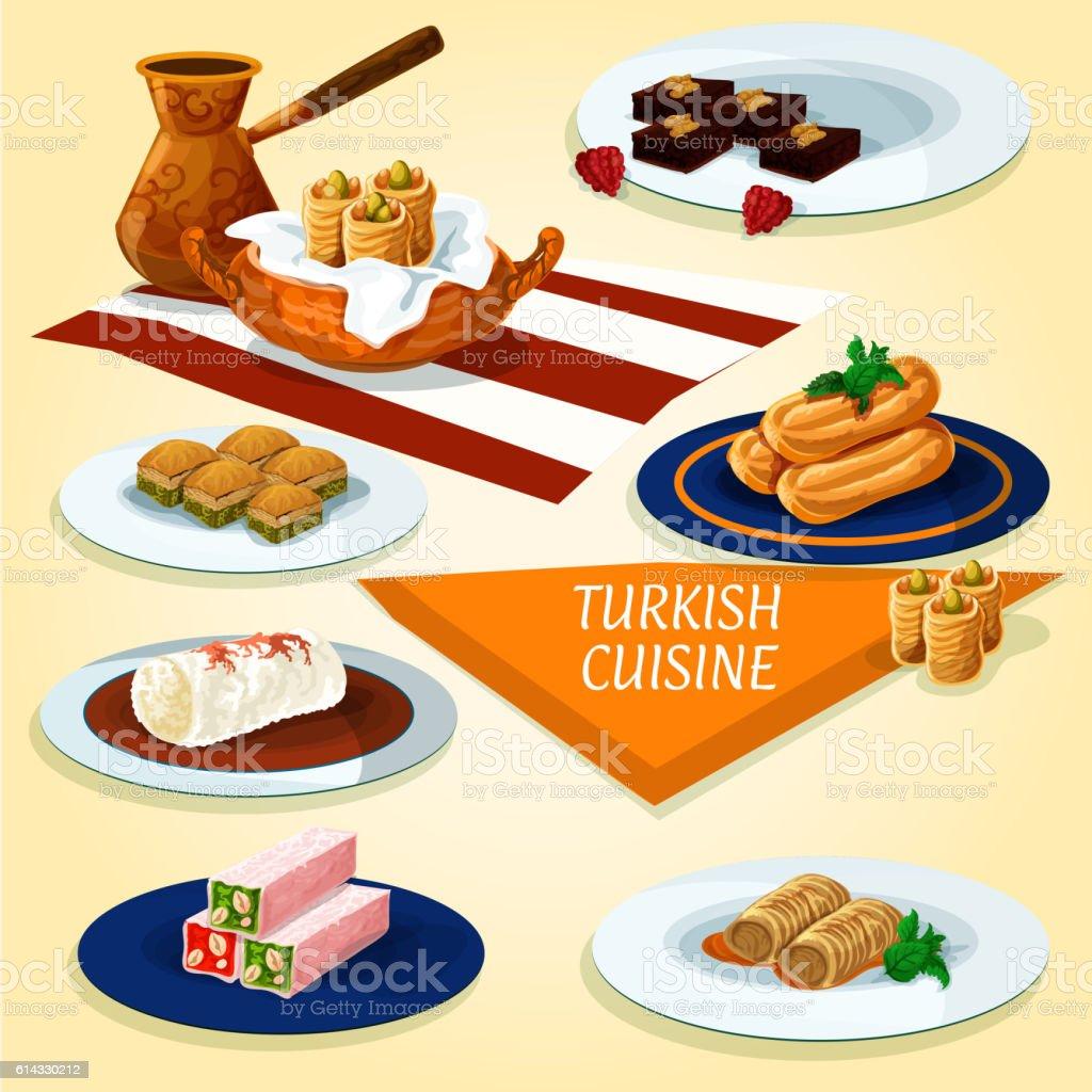 Turkish cuisine delights and desserts icon vector art illustration