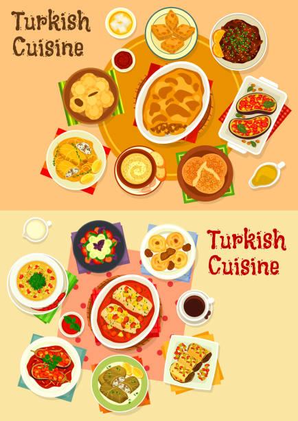 türkische küche-essen mit genuss-icon-set - feigensalat stock-grafiken, -clipart, -cartoons und -symbole