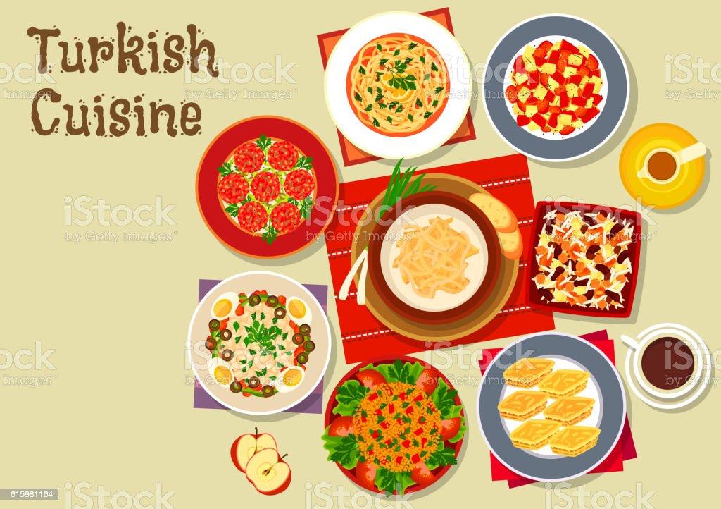 Turkish cuisine dishes for festive dinner icon vector art illustration