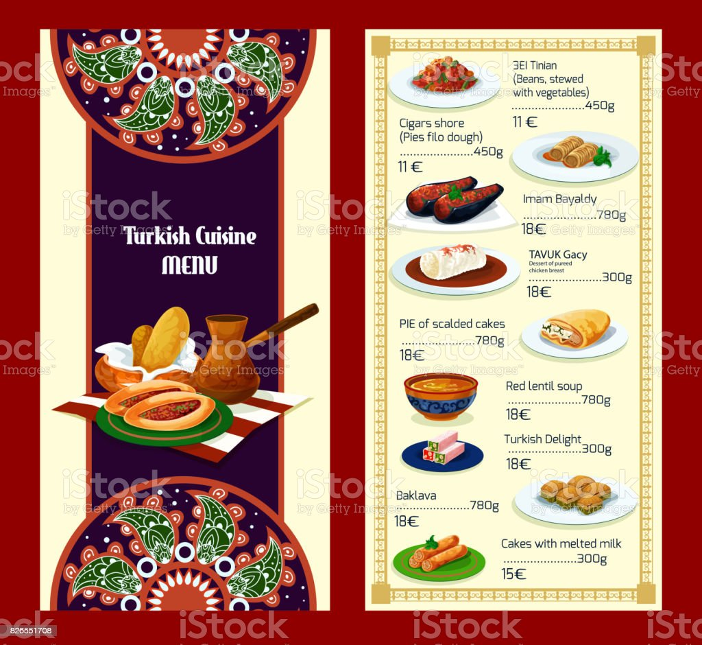 Turkish cuisine menu with delights and meat dishes vector art illustration