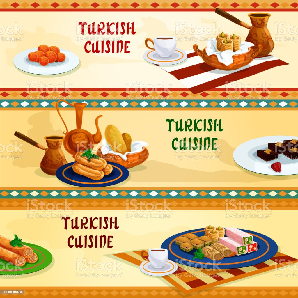 Turkish cuisine sweets with coffee banner set vector art illustration