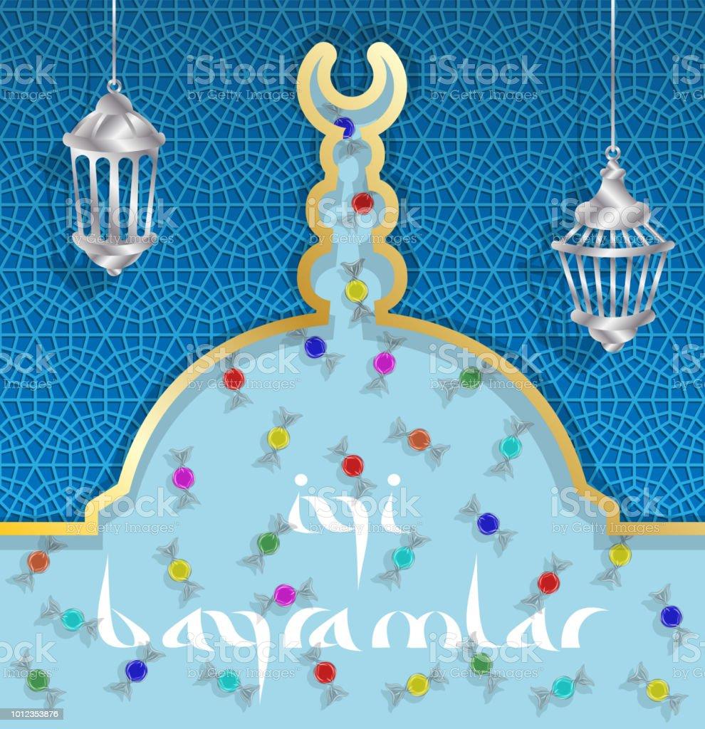 Türkische Eid Gruß mit Bonbons und Laternen auf Kuppel der Moschee – Vektorgrafik