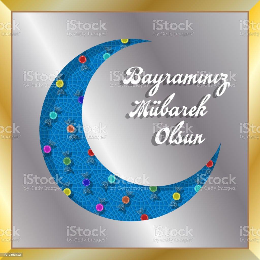 Türkische Eid Gruß mit Halbmond und Bonbons für muslimischen Feiertag – Vektorgrafik