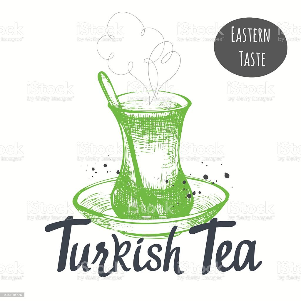 Turkish ethnic and national traditions of tea ceremony. vector art illustration