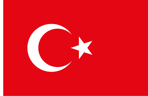 turkish flag correct proportions vector