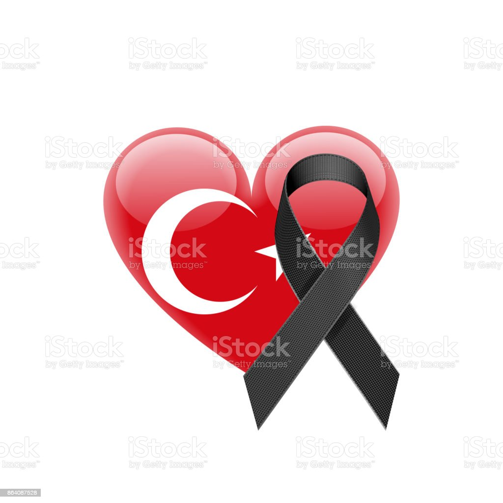 Turkish Flag Heart Icon with Black Ribbon royalty-free turkish flag heart icon with black ribbon stock vector art & more images of ankara