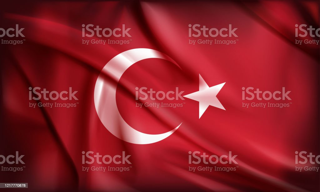 Turkish Flag, moon and star with red background - Векторная графика Абстрактный роялти-фри