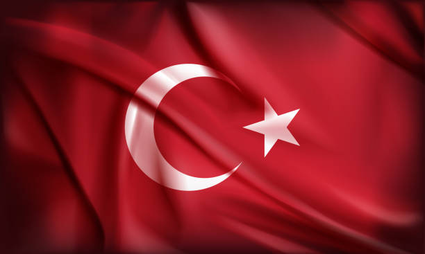turkish flag, moon and star with red background - holiday background stock illustrations