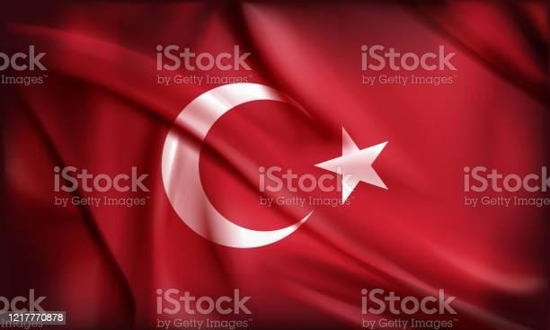 Turkish Flag Moon And Star With Red Background — стоковая векторная графика и другие изображения на тему Абстрактный