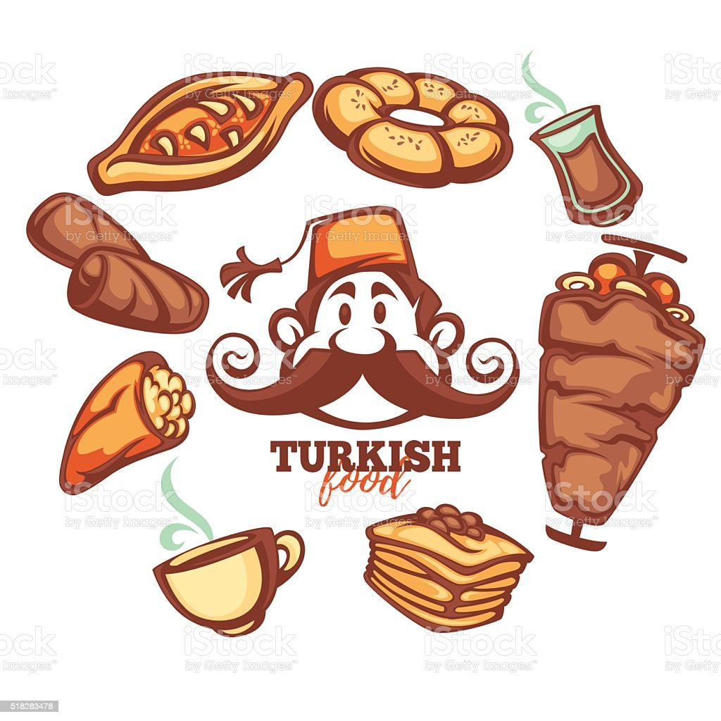 turkish food, cartton collection for your menu vector art illustration