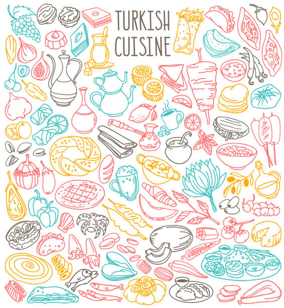 türkische lebensmittel doodles gesetzt. nationale küche - doner kebab, pide, lokum, ayran, tee. - döner stock-grafiken, -clipart, -cartoons und -symbole