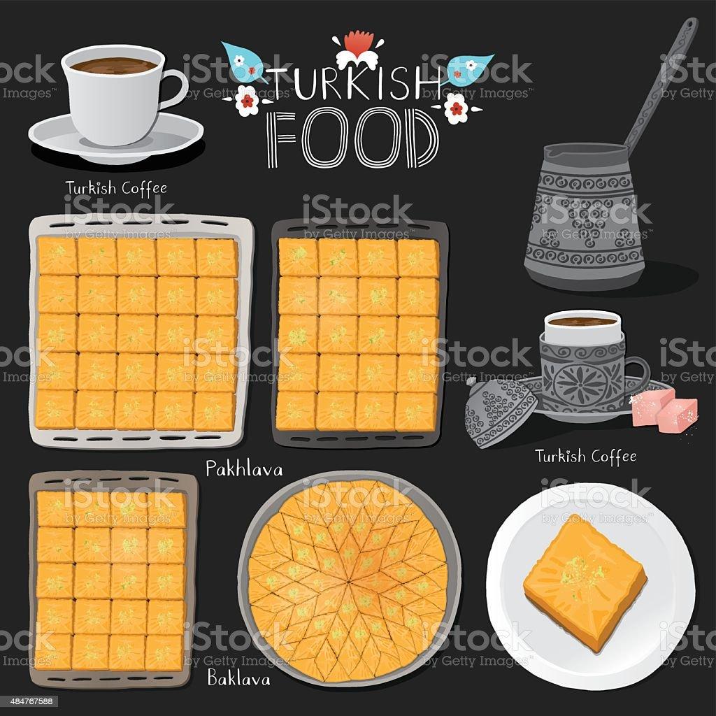 Turkish food set. Fortune telling Turkish coffee. vector art illustration