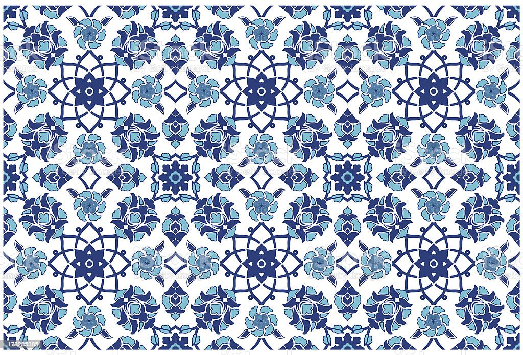 Turkish Islamic Floral Ceramic Design royalty-free stock vector art