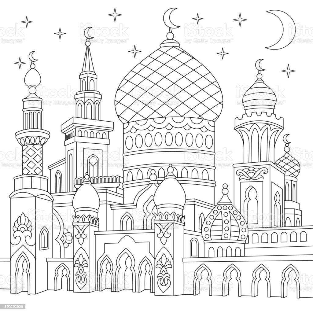Turkish islamic mosque vector art illustration