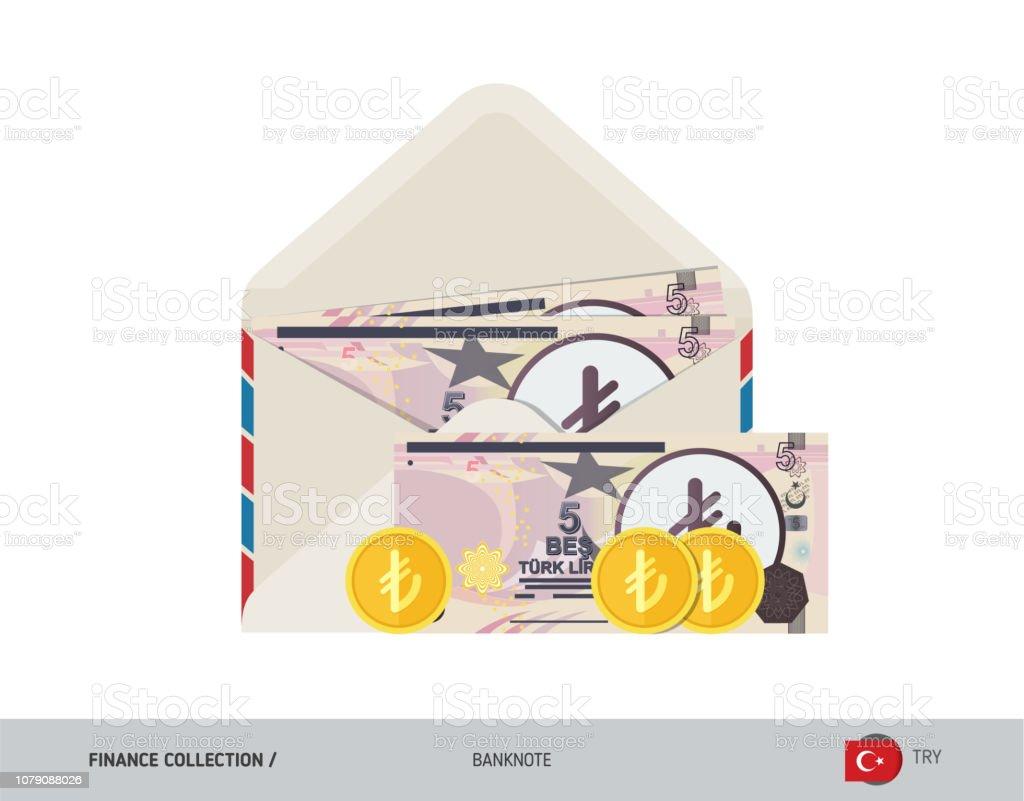 5 Turkish Lira Banknote Flat Style Opened Envelope With Cash
