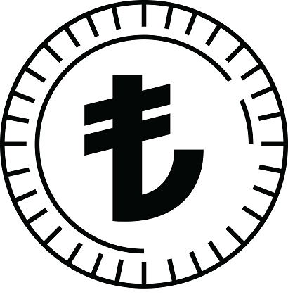 Turkish Lira Currency Coin Symbol Icon Vector