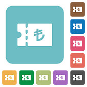 Turkish Lira discount coupon rounded square flat icons