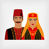 Turkish man and woman in national suit